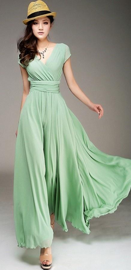 Wrapped V-neck High Waist Maxi Dress ♥✤ | Keep the Glamour | BeStayBeautiful