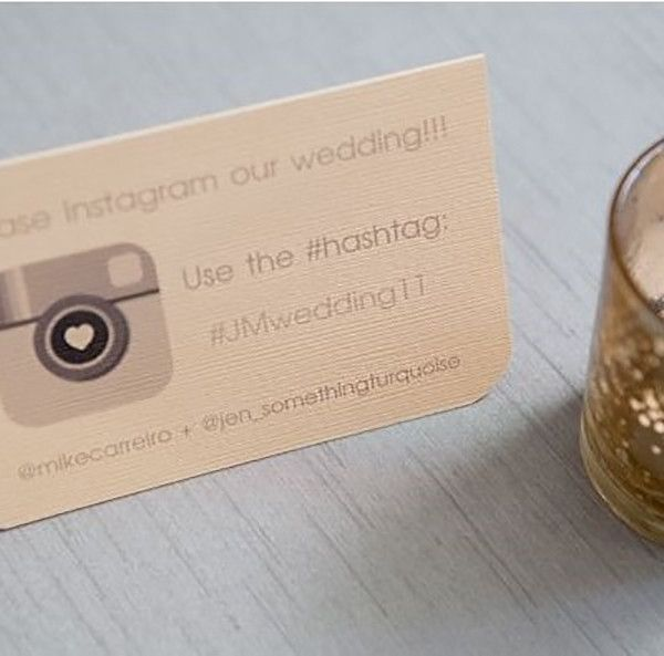 For welcome bags or guest favors, include a simple card with your wedding hashtag.
