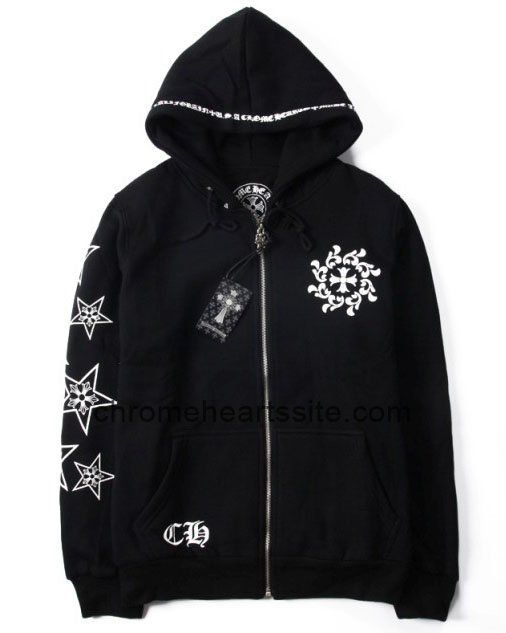 Chrome Hearts Star Printed Black Cotton Hoodies Jackets