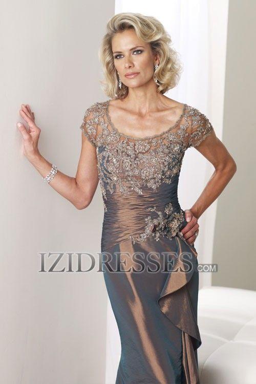 Sheath/Column Square Taffeta Mother of the Bride Dress - IZIDRESSES.COM
