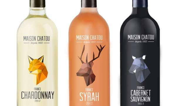 Illustrated Origami Logos - Maison Chatou Wine Packaging Features Two-Dimensional Folded Forms (GALLERY)