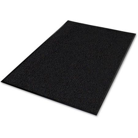 Indoor Mat, Nylon Carpet, Rubber Back, 4'x6', Black GJO59464