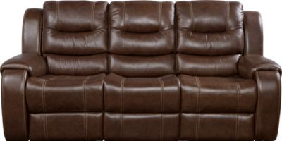 Veneto Brown Leather Power Reclining Sofa   - Reclining Sofas (Brown)