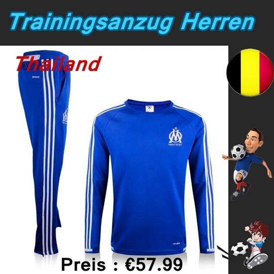Billige Trainingsanzüge Fussball Herren Kits Marseil OM Blau Seson 2015 2016 Deutschland Online Shop