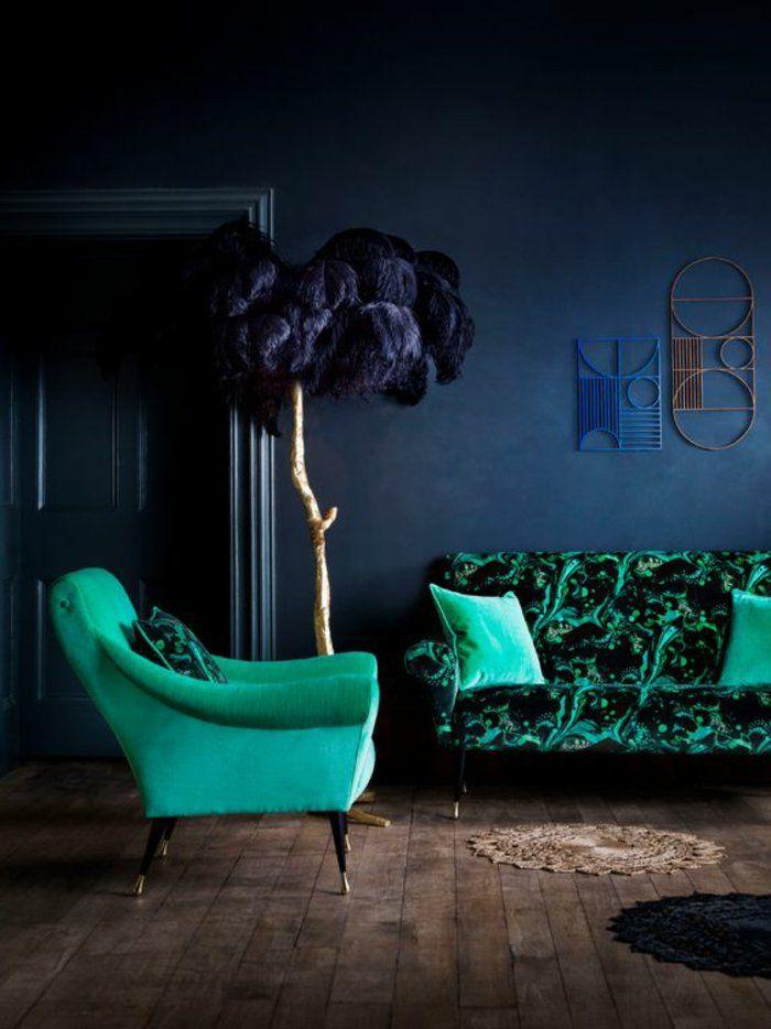 Les 25 meilleures id es de la cat gorie canap s vert fonc - Peinture murale verte ...