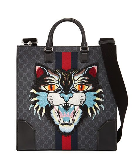 67b6d5b25402 GUCCI Gg Supreme Tote With Embroidered Angry Cat, Black. #gucci #bags  #canvas #tote #leather #lining #shoulder bags #linen #hand bags #nylon  #cotton #