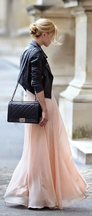 bad-ass jacket with feminine dress. flow-y skirt maybe shorter , light peach color