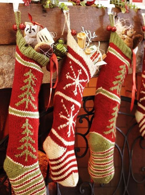 Christmas Knitted Stocking Red Snowflake Aztec Knitted