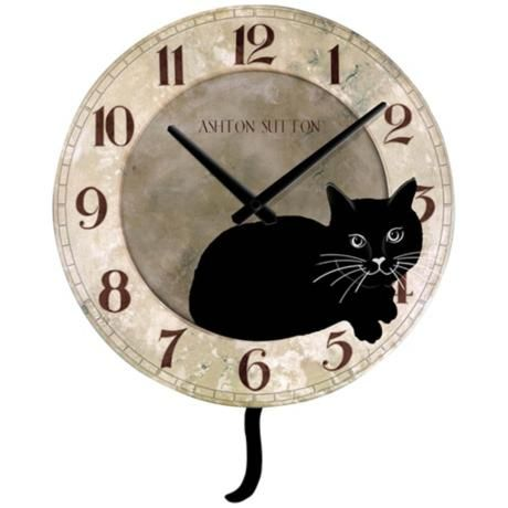 Cat with Tail Pendulum Wall Clock