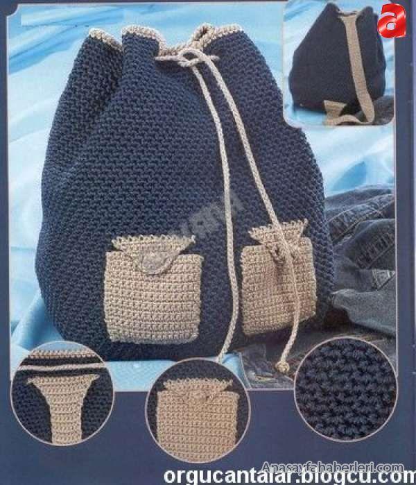 Örgü sırt çantası modelleri.
