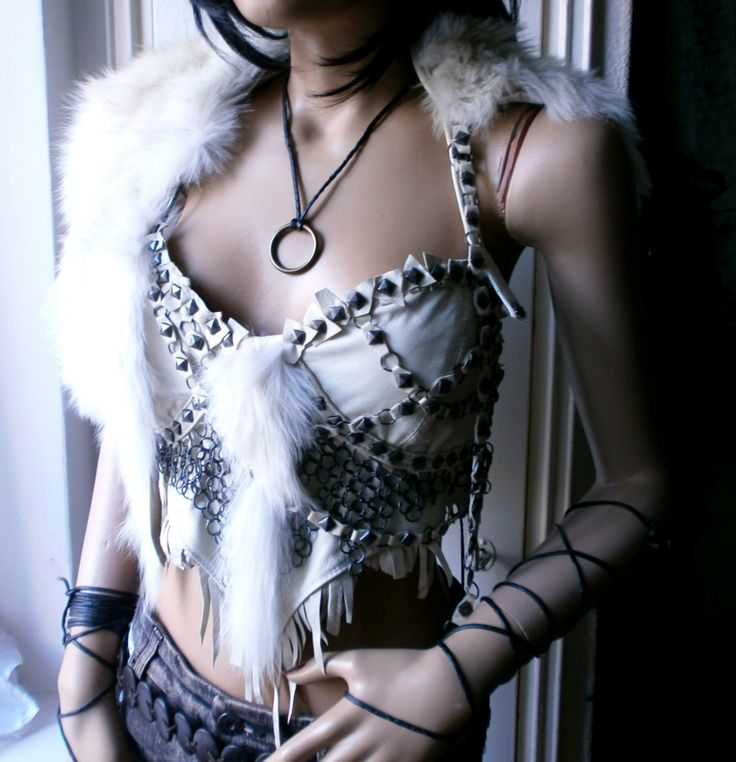 White leather Warrior Princess corset top with a by ShandiHighway, €170.00
