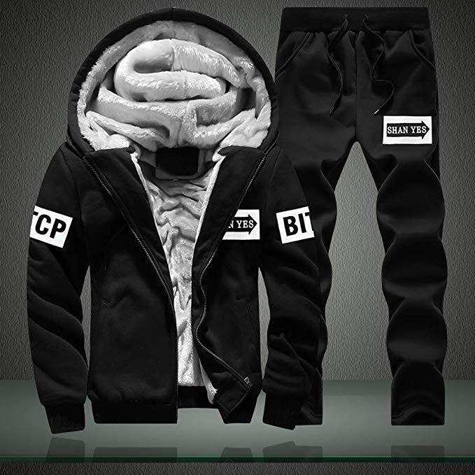 e4f0d7378bfbcb Binmer Men s Pullover Winter Jackets Fleece Hoodies Sweatshirt Outwear Coat  Top Pants Sets at Amazon Men s Clothing store
