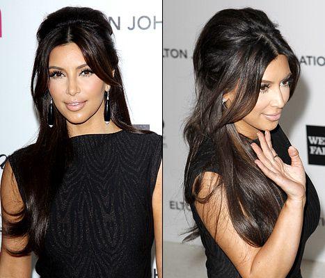 Kim Kardashian's half-up do with a how-to by her hair guru