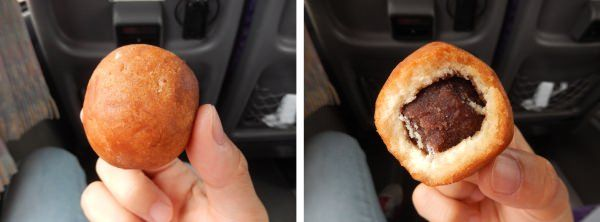 お菓子工房「やなぎや」で販売されている揚げドーナツ「フライボール」中にはこしあんがたっぷり!