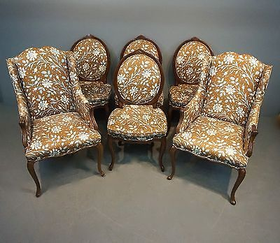 Distinction Vintage French Style Dining Chairs Set of 6, 2 Captains  4 Side Chairs
