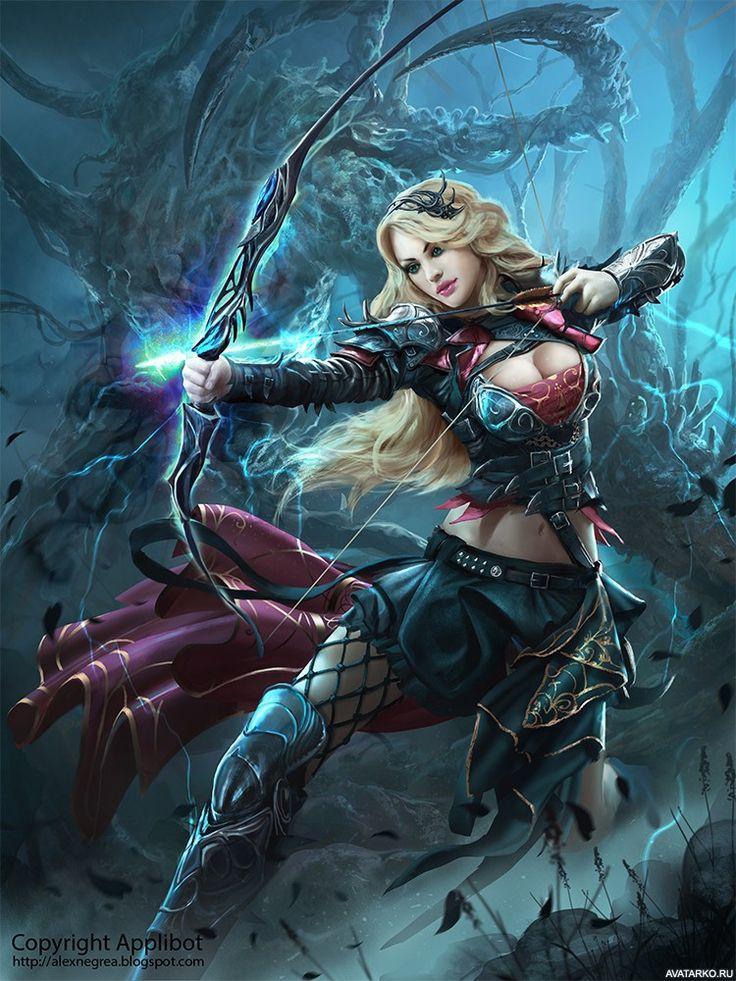 Девушка с луком стреляет магическими стрелами - картинки на аву