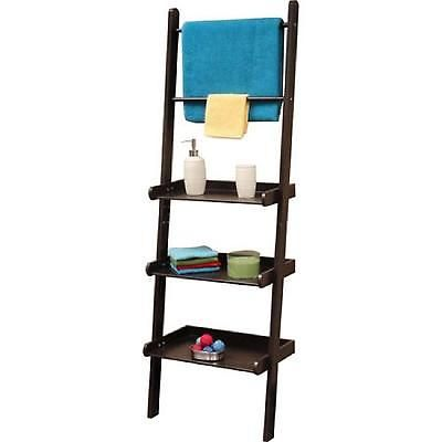 Leaning Ladder Shelf Towel Bar Rack Bar Bathroom Storage Furniture Espresso Wood