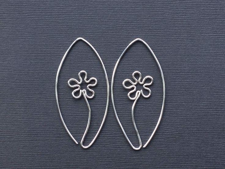 Silver Flower Hoops * Silver Flower Earrings * MetalRocks * Argentium Hoops * SS Dangle Earrings * New Silver Hoops * Mothers Day Gift by MetalRocks on Etsy