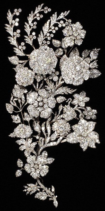 Antique diamond (shoulder?) pin. So well crafted!! Spray ornament, maker unknown, about 1850