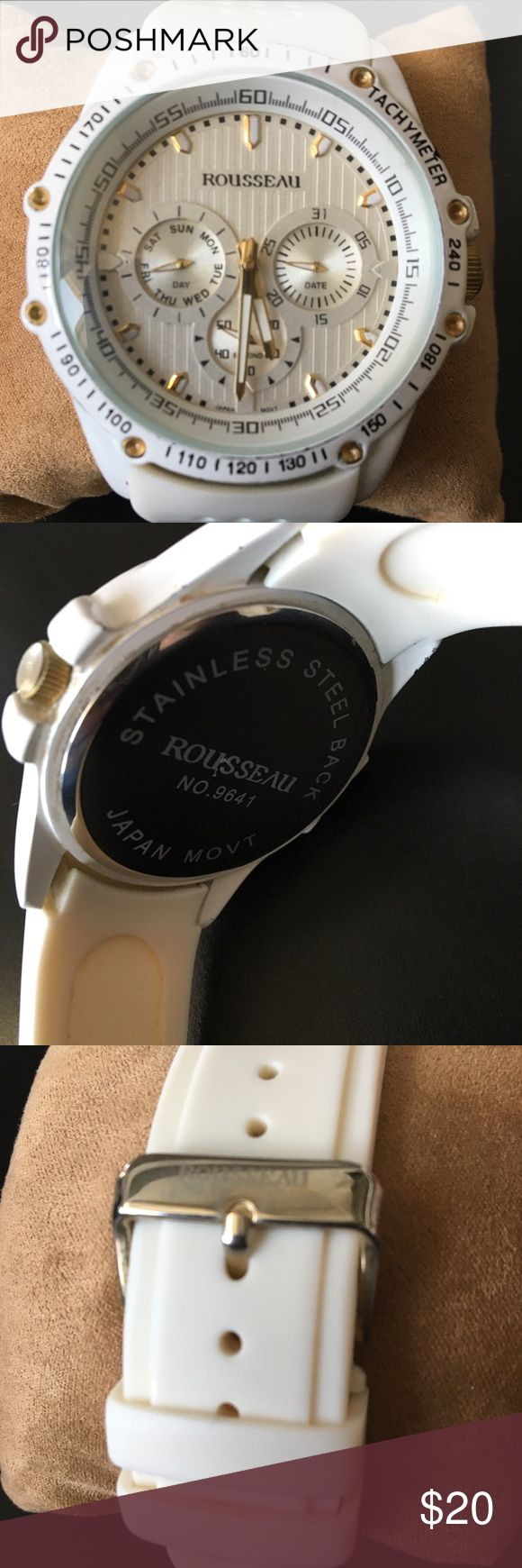 Gel Watch White gel Watch by the brand name Rousseau. Has been worn a lot, hence has some slight dings on the side. The glass itself has zero scratches. Watch is still in good condition. A new battery has been just put in as well. Rousseau Accessories Watches