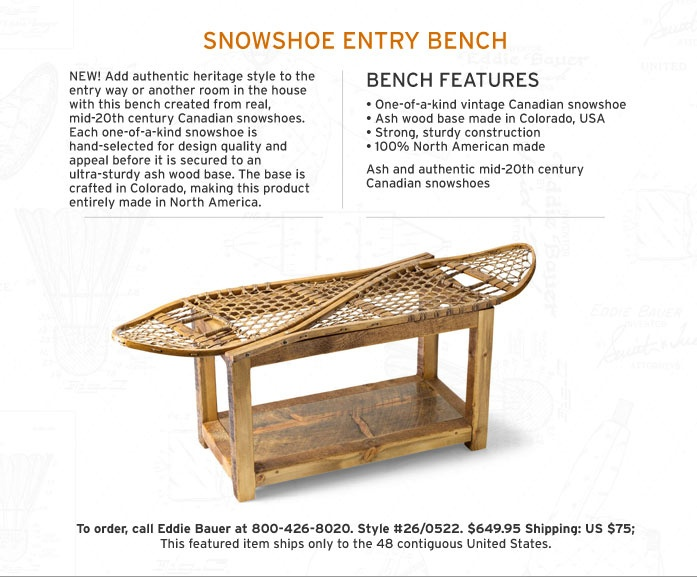 Great Snowshoe Bench Or Coffee Table