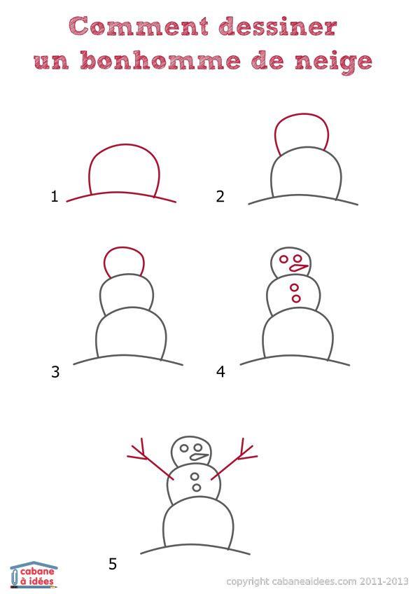 Comment Dessiner Un Bonhomme De Neige Fetes Pinterest Dessin