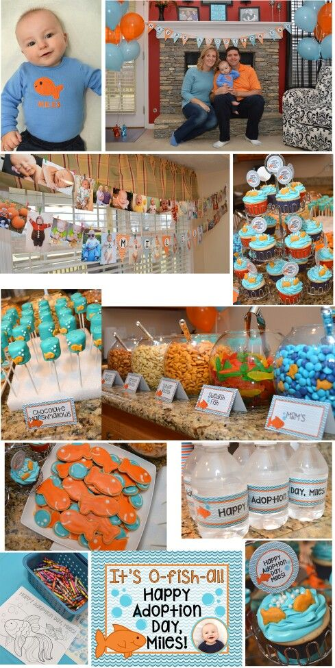 It's O-fish-al Adoption Finalization Goldfish Party. Email sugarcane44@yahoo.com for templates for invitations, water bottle labels, food labels, and cupcake picks.