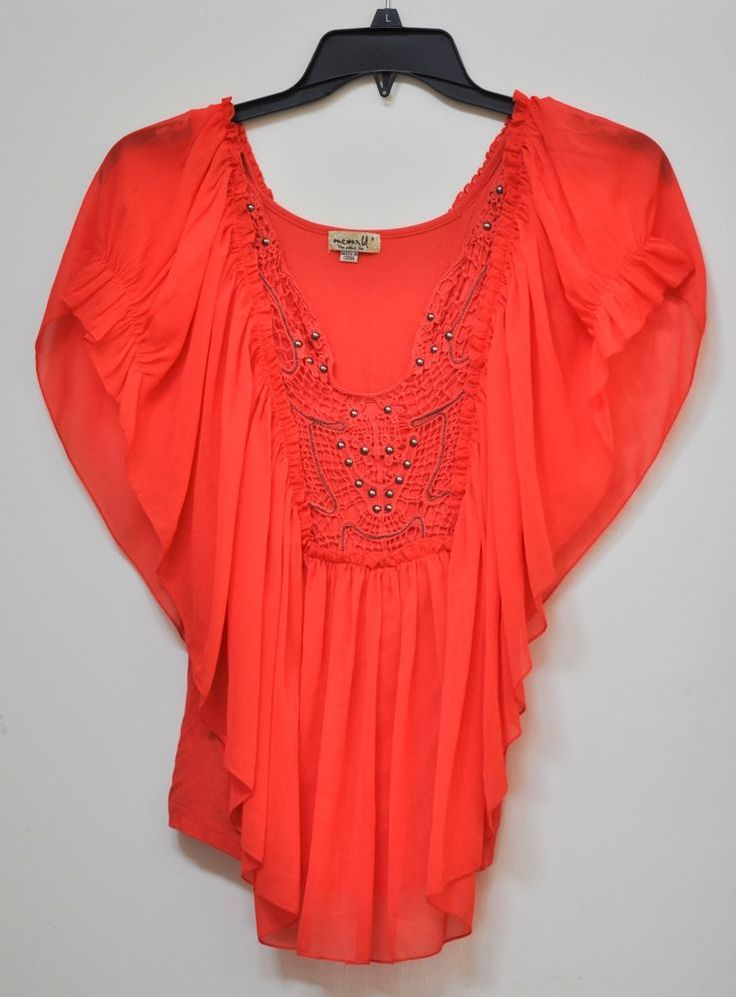 One World Women Casual Batwing Sleeve Lace Crochet Studded Orange Top size S #OneWorld #KnitTop #Casual