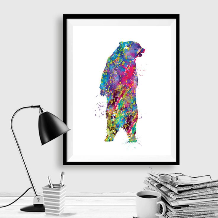 Woodland Bear Print Watercolor Painting Print Grizzly Bear Art Watercolour,Illustration,home decor wall art,bear art, watercolor animal WT30 by artRuss on Etsy