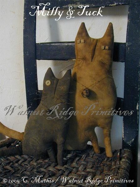 Folky Cats  Milly and Tuck Pattern by Walnut Ridge Primitives