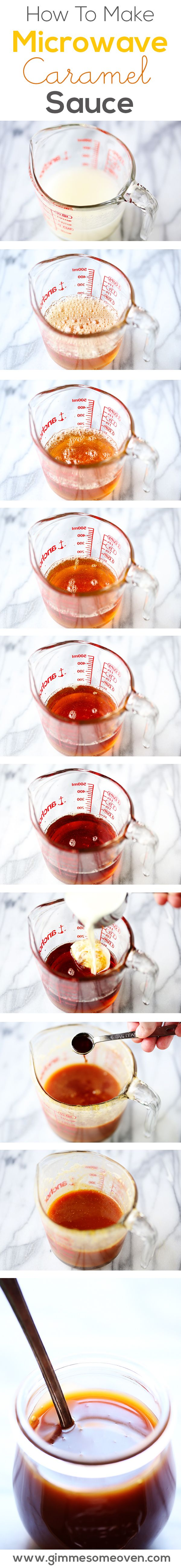 Make homemade caramel sauce in the microwave in just 10 minutes!   gimmesomeoven.com
