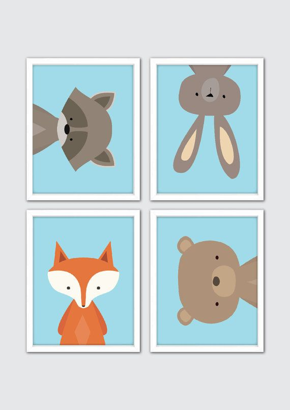 Woodland Nursery Wall Art – Forest Friends Nursery Prints for Baby Animal Nursery Set of 4 Baby Animal Prints for Forest Nursery