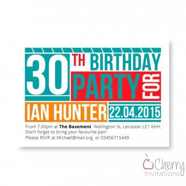 Vibrant Font Themed Single Sided Personalised Birthday Invitations - From as little as £0.41 per card - Including free envelopes and delivery on all orders!