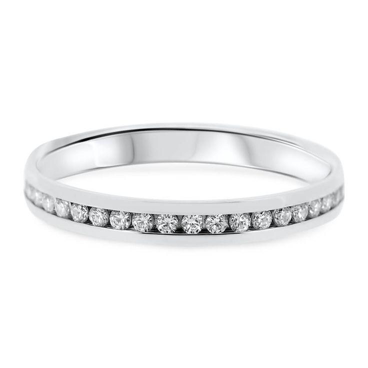 18ct White Gold Channel Set 30 Diamonds Ladies Vintage Wedding Ring TQ037 | Vintage Rings Kilkenny