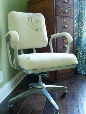 DIY office chair redo!  Love the stamp. From Less than Perfect Life of Bliss