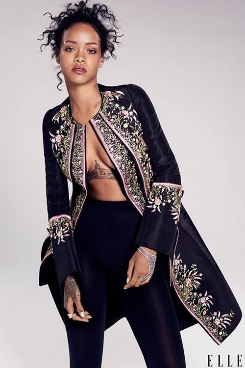 Fashion Editorial: Rihanna in floral embroidered Timless Dior Couture Jacket or Elle December 2014 issue fashion editoreial.