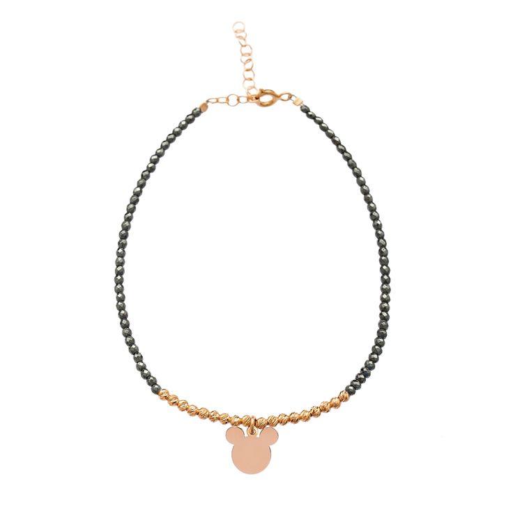 Hematite Beads Stone New Fashion 925 Silver Powder Mickey Mouse Design Bracelet