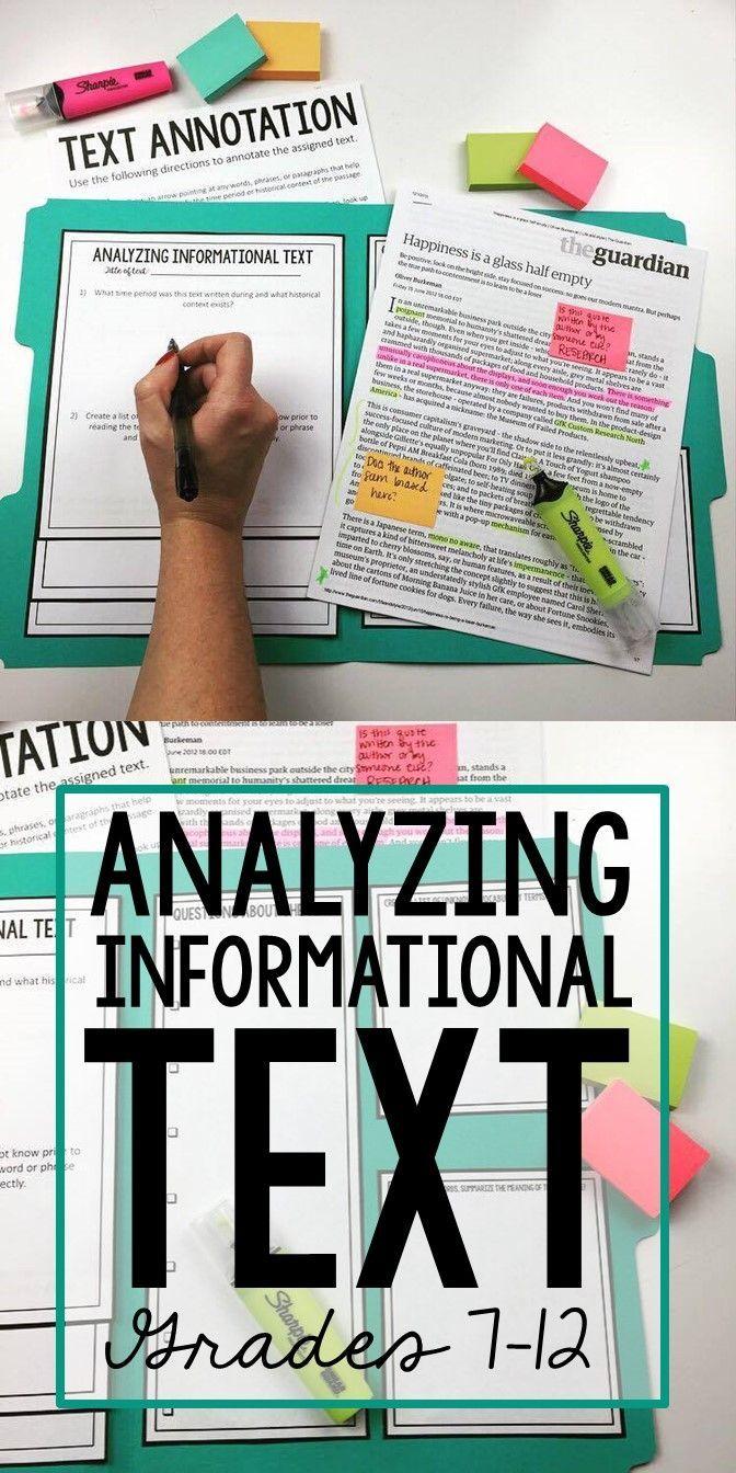 Analyzingrmational Text Using Manila Folders & Annotation Stations
