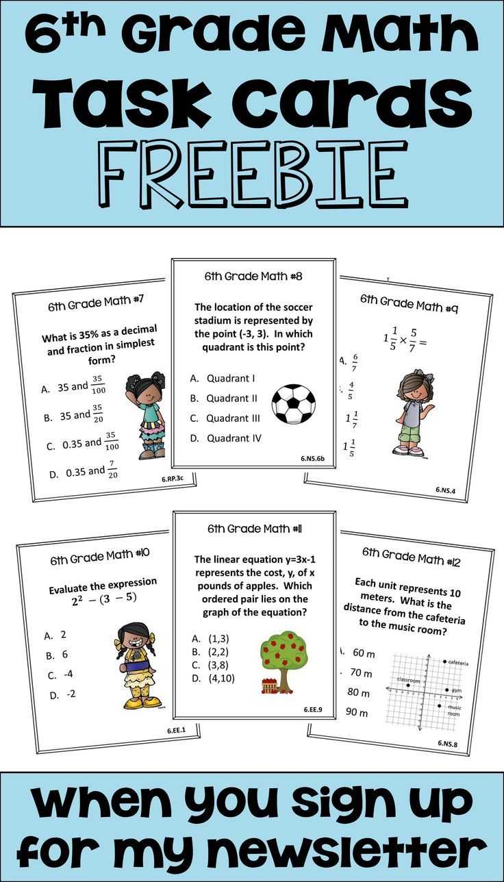 6th Grade Math Task Cards Freebie Math Task Cards Math Tasks Sixth Grade Math [ 1288 x 736 Pixel ]