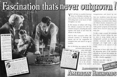 1936 American Railroads ad. The Saturday Evening Post.