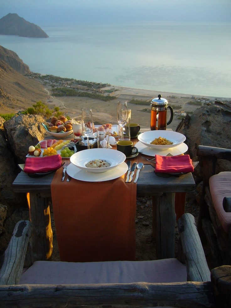 Sunrise breakfast...early bird catches the Champagne! from Six Senses Zighy Bay