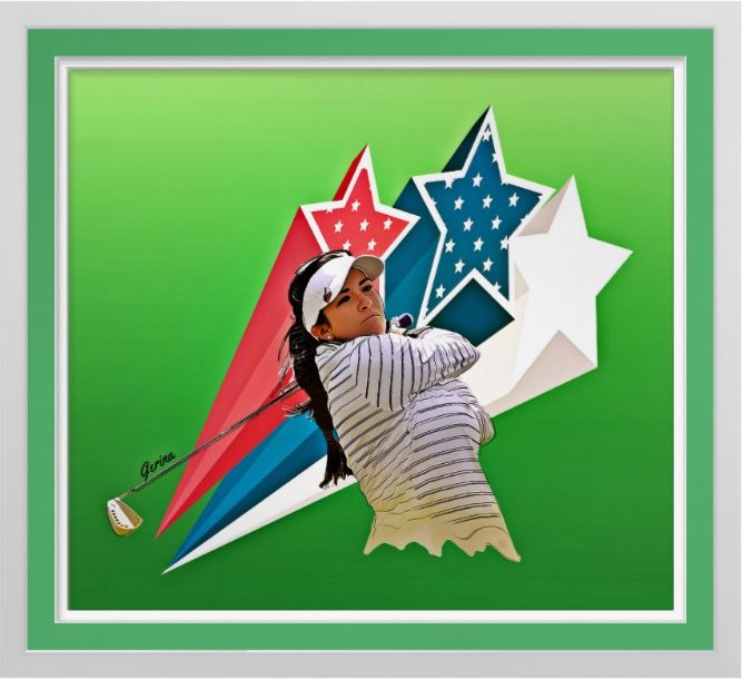 Gerina Piller - Golf Art Print. Original golf art by Roger Smith. Gerina Piller. Stars of the LPGA. Reproduced on Premium Canvas http://www.zazzle.com/gerina_pillar_golf_art_on_canvas_print-228289060930307773 #golf #art #print #RogerSmith #GerinaPiller