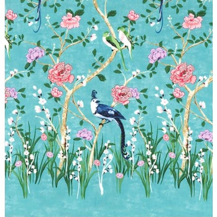 Michael Miller Chinoiserie Border Print in Turquoise - Michael Miller fabric for patchwork quilting & dressmaking