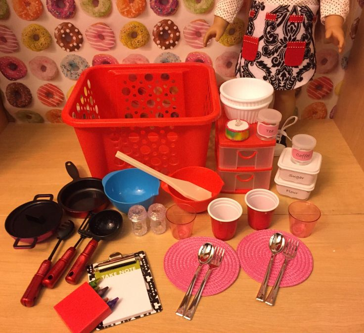 Red Kitchen Cooking Set -  33 pieces for American Girl or 18 inch doll - Accessory Set by LexiDollCreations on Etsy