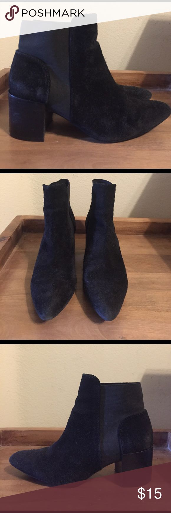 Zara Black Ankle Boots Zara women's black faux suede boots with black wooden heel and elastic details. Pointed toe. Very similar to the YSL and Acne Studios boots that are very popular. Size 6 US. Slightly worn, but look new! Zara Shoes Ankle Boots & Booties