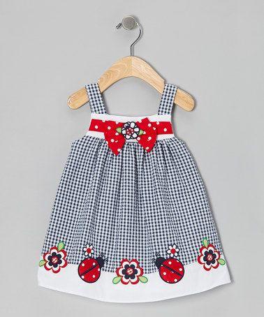 Navy Ladybug Babydoll Dress - Infant