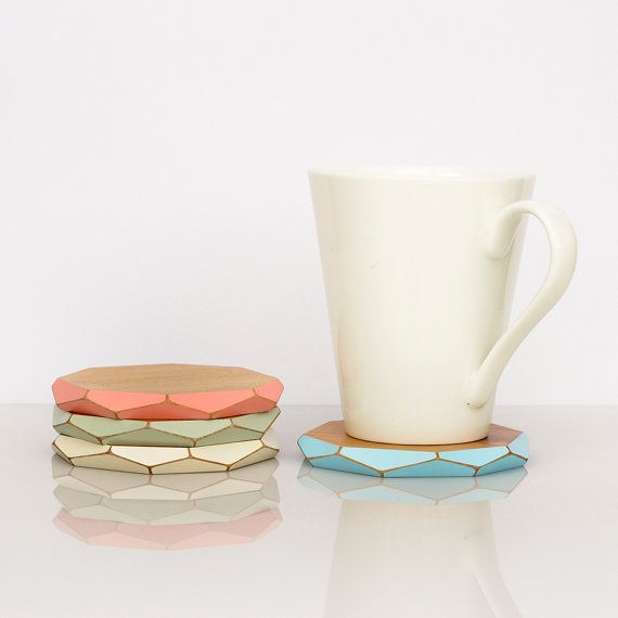 Faceted wooden coasters x4  pastels by GwynethHulseDesign on Etsy