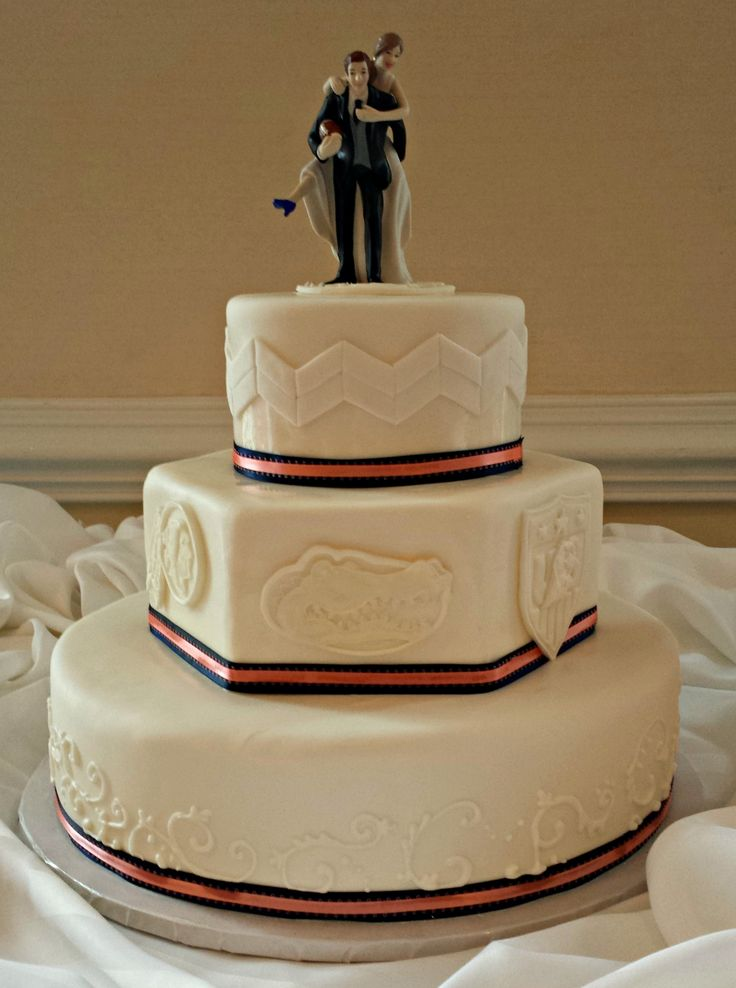 wedding cakes los angeles prices%0A Gluten Free Fondant Wedding Cake with Team Logos  Scrollwork  and Chevrons