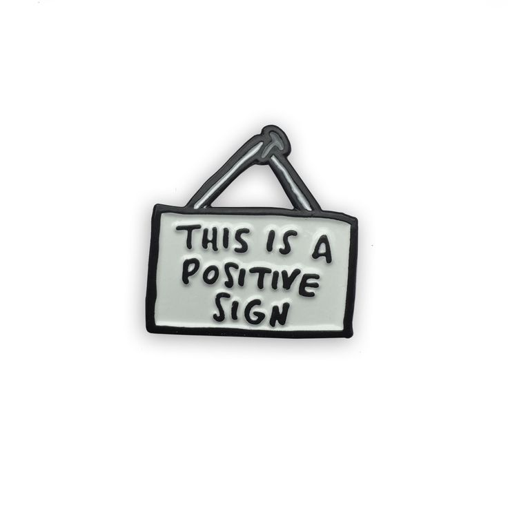Positive Sign Enamel Pin - Veronica Dearly Illustration