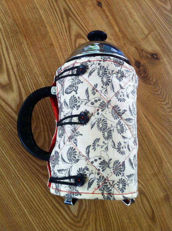 Coffee French Press Quilted Cover or Cozy | JanevilleWood on Etsy $15.03 (while available)